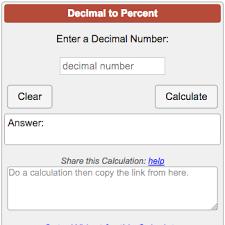 percent to decimal decimal to percent calculator