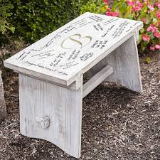 Engraved Benches Personalized Decorative Whitewash Wood Guest Signature Step Stool