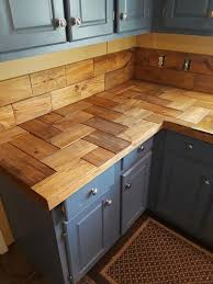 blue kitchen cabinets with wood countertops 45 unique kitchen countertops of different materials digsdigs