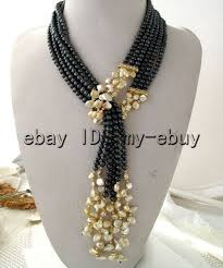 fashion black pearl necklace images 3strands black freshwater pearl champagne petal keshi keishi pearl jpg