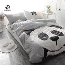 comfortable bedding parkshin panda printed bedding set kids gray bedspread duvet cover