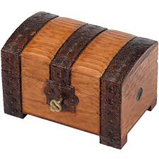 brown wooden chest with lock and key and branded trunk design
