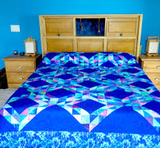 size king size waves quilt in blue purple pink