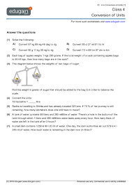 grade 4 math worksheets and problems conversion of units