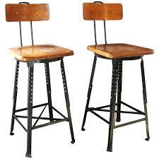 vintage bar stools with backvintage industrial bar stools pair