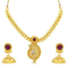 necklace set gold design images Sukkhi pleasing kairi design gold plated necklace set for women jpg
