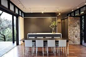 Modern House Dining Room - modern house design blending stone steel and wood into modernist