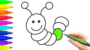 caterpillar coloring pages and drawing for kids learning how to