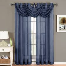 Sheer Panel Curtains Navy Blue Sheer Window Scarf