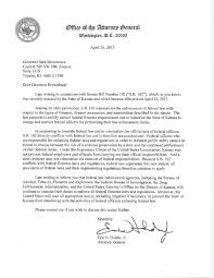 Letter To The Attorney General by Ag Letter To Kansas Governor U2013 Federal Law Supersedes State And