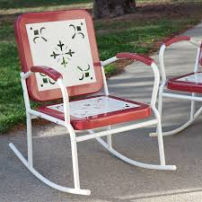 Antique Patio Chairs Cherry Red Retro Patio 3 Pc Metal Rocker Rocking Chair Set