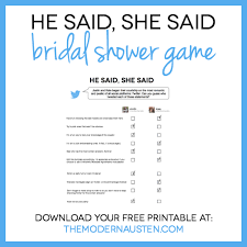 he said she said bridal shower he said she said bridal shower printable the modern austen