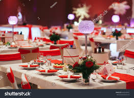 luxury expensive catering wedding reception decorations stock