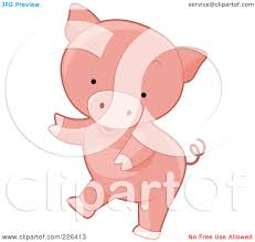 royalty free rf clipart illustration of a cute pig dancing by