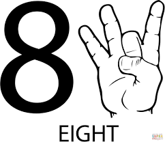 asl number eight free download education number coloring pages