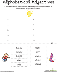 alphabetical adjectives comprehension worksheets worksheets and