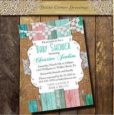burlap baby shower invitation brunch lace wood rustic shabby chic