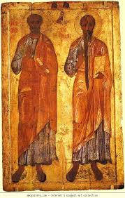 russian icon apostles peter and paul 12th 13th century from the