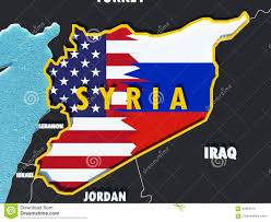 Map Of Russia And Syria by Map Of Syria Divided With Usa And Russia Flags With Surrounding