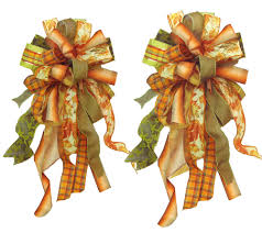 silk decor home accents set of 2 autumn u0026 fall multi colored wreath and door bows b4517