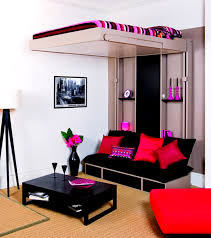 use cute room ideas for small space with loft bed and black sofa