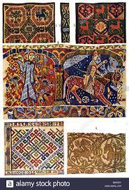 scandinavian romanesque ornament mediaeval gobelin tapestry stock