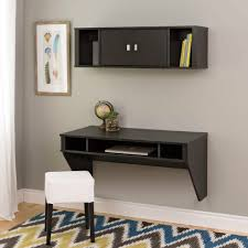 furniture wooden comouter table and book storage hanging on