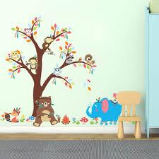 online get cheap monkey wallpapers aliexpress alibaba group cartoon animal monkey owl flowers monkeys vinyl wall stickers decals plants wallpaper mural girls boys