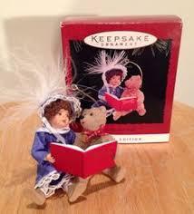 christmas 5 u0027 u0027inch porcelain doll mauve w lace overlay hat ornament