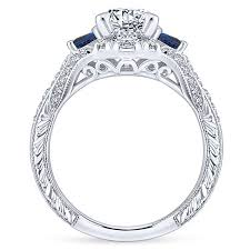 engagement rings with blue stones greenwich 14k white gold 3 stones engagement ring