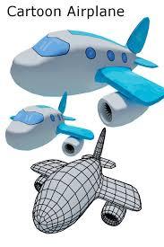 3d model cartoon airplane cgtrader