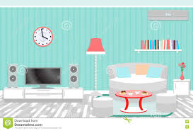 living room interior including furniture air conditioning and royalty free vector