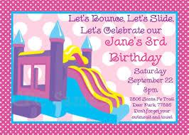 bounce castle birthday invitation printable or printed