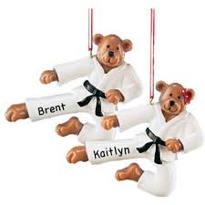 personalized karate bear christmas christmas ornament boy