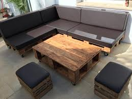 pallet sectional sofa set with black cushion 101 pallets