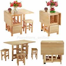 Waxed Pine Dining Table Folding Drop Leaf Butterfly Dining Table Set 4 Chairs Waxed Pine