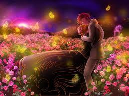 boy hugs tenderness meadow butterflies flowers classy anime