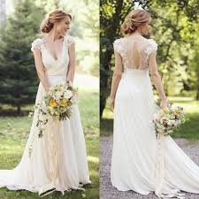vintage bohemian lace wedding dress 2017 illusion back beach