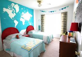 cool bedroom with twin beds with red headboards featuring blue cool bedroom with twin beds with red headboards featuring blue world map mural as ideas for decorating bedroom walls