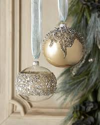 opal ball with silver beads christmas ornament set of 2