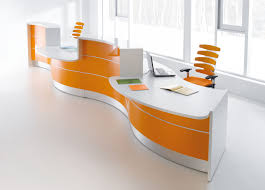 Office Table Designs Beautiful Curved Red White Office Desk Design For Recepcion And