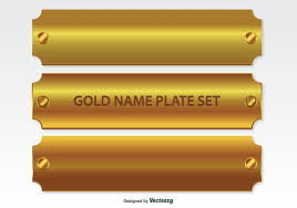 gold name plates golden name plates set free vector stock graphics