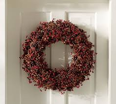 berry wreath pinecone and berry wreath pottery barn