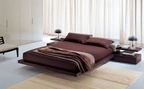 modern bedroom design with floating king size low profile bed with
