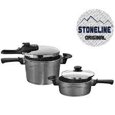 batterie de cuisine en stoneline stoneline set autocuiseur 4 pieces en achat vente