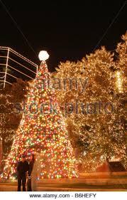 christmas lights in downtown richmond virginia stock photo