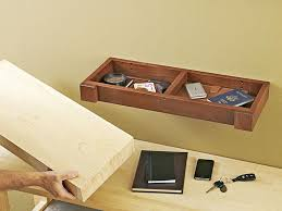 hidden compartment wall shelf woodworking plan from wood magazine