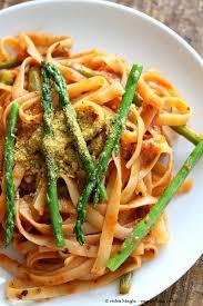 fettuccine with tomato cream sauce and asparagus vegan richa
