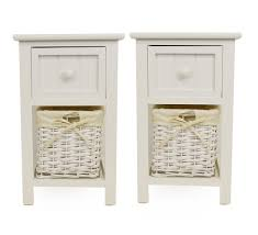 Bedside Table Amazon Pair Of Shabby Chic White Bedside Units With Wicker Storage