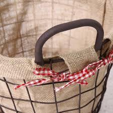 adeco circular rustic vintage inspired iron baskets handles burlap